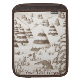 cute fox and rabbits christmas snow scene sleeve for iPads