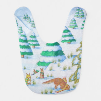 cute fox and rabbits christmas snow scene baby bibs
