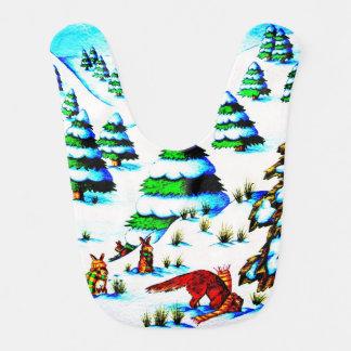 cute fox and rabbits christmas snow scene bib