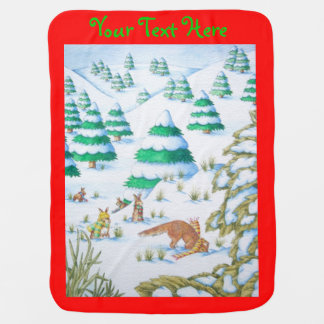 cute fox and rabbits christmas snow scene receiving blankets