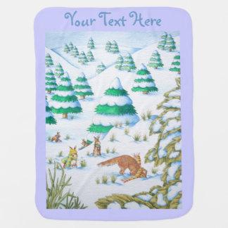 cute fox and rabbits christmas snow scene stroller blankets