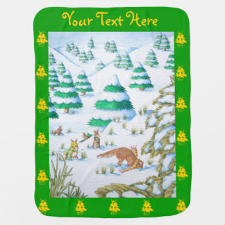 cute fox and rabbits christmas snow scene swaddle blankets