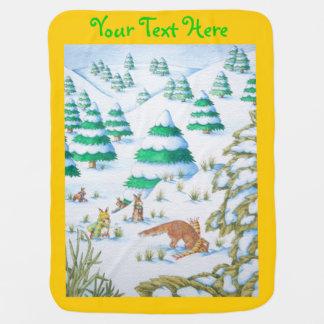 cute fox and rabbits christmas snow scene stroller blanket