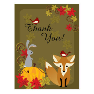 Cute Fox and Woodland Animals Autumn Thank You Postcard