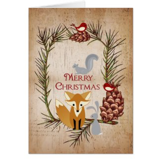 Cute Fox and Woodland Animals Merry Christmas Greeting Card