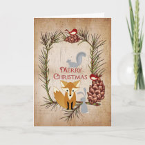 Cute Fox and Woodland Animals Merry Christmas Holiday Card
