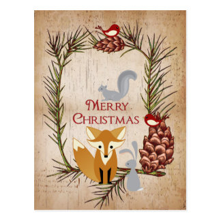 Cute Fox and Woodland Animals Merry Christmas Postcard