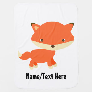 Cute Fox Baby Name Customize Stroller Blanket