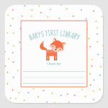 """Cute Fox Baby Shower bookplate, books for baby Square Sticker<br><div class=""""desc"""">Adorable little fox with confetti dots make a cheery little library sticker.  Other animals available.  Please contact the seller for special requests.</div>"""