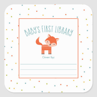 Cute Fox Baby Shower bookplate, books for baby Square Sticker
