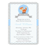 "Cute Fox Baby Shower Invitation in Blue and Gray 5"" X 7"" Invitation Card"