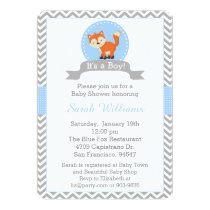 Cute Fox Baby Shower Invitation in Blue and Gray