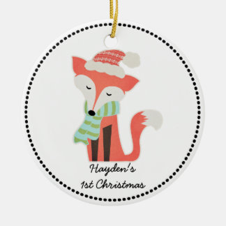 Cute Fox Baby's Christmas Winter Woodland Rustic Ceramic Ornament