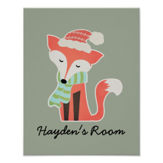 Cute Fox Baby's Christmas Winter Woodland Rustic Poster