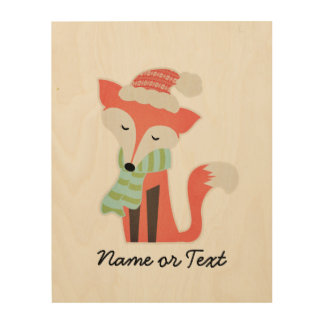 Cute Fox Baby's Christmas Winter Woodland Rustic Wood Wall Art