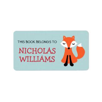 Cute fox cartoon animal bookplate book address label