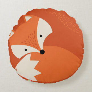 Cute Fox Cartoon Orange Round Pillow