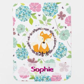 cute fox country flowers vintage baby blanket 2