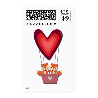 Cute Fox Couple in Heart Air Balloon Postage
