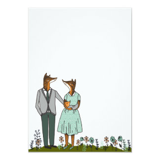 Cute Fox Couple / New Baby Anouncement Card