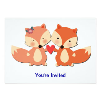 Cute Fox Couple Sharing a Heart Card