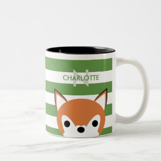 Cute Fox Custom Name & Initial Two-Tone Coffee Mug