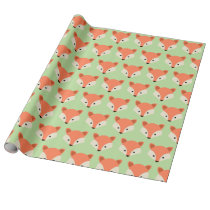 Cute Fox face Pattern on Green Wrapping Paper