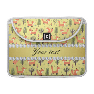 Cute Fox Faux Gold Foil Bling Diamonds MacBook Pro Sleeve