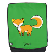 cute fox forest animal cartoon (add name) backpack