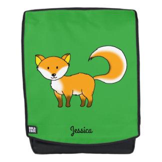 cute fox forest animal cartoon (add name) backpack