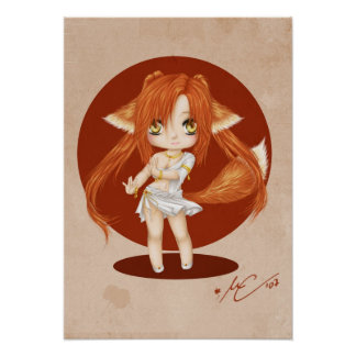Cute Fox Girl Poster