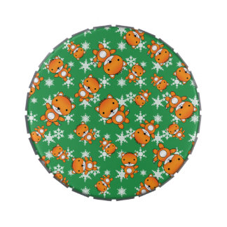 Cute fox green snowflakes jelly belly candy tin