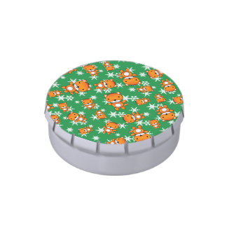 Cute fox green snowflakes jelly belly tin