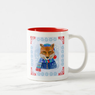 Cute Fox Illustrated Winter Scarf Mug
