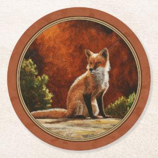 Cute Fox In The Sun Copper Red Round Paper Coaster