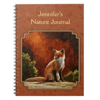 Cute Fox In The Sun Copper Red Spiral Notebook