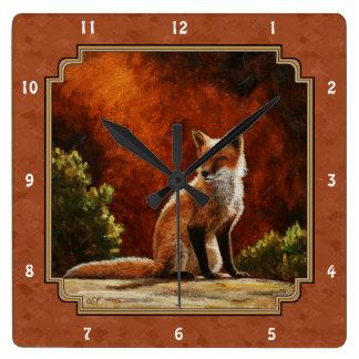 Cute Fox In The Sun Copper Red Square Wall Clock