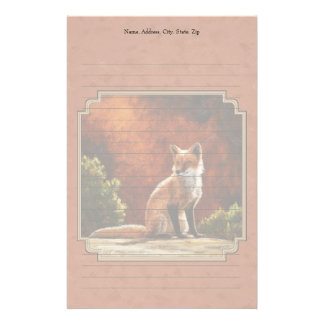 Cute Fox In The Sun Copper Red Stationery