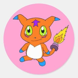 Cute fox-monster classic round sticker