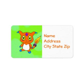 Cute fox-monster address label