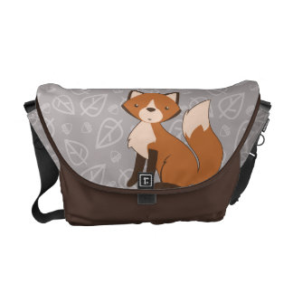 Cute Fox on Leaves and Acorns Pattern Courier Bag