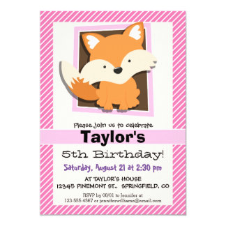 Cute Fox on Pink & White Stripes Card