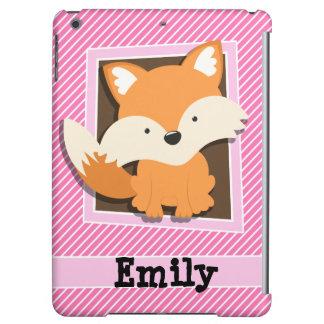 Cute Fox on Pink & White Stripes iPad Air Case