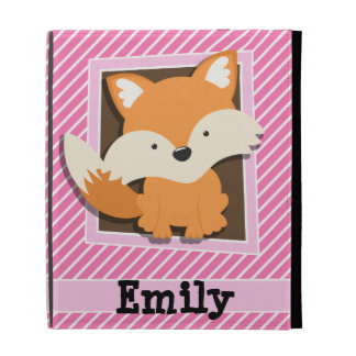 Cute Fox on Pink & White Stripes iPad Folio Cases