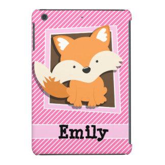 Cute Fox on Pink & White Stripes iPad Mini Retina Case