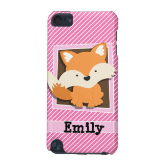Cute Fox on Pink & White Stripes iPod Touch 5G Case