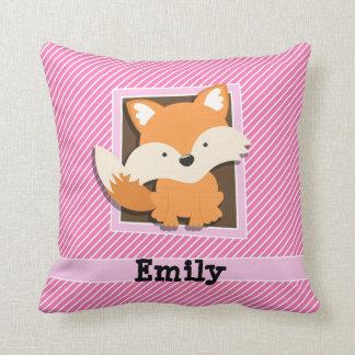 Cute Fox on Pink & White Stripes Throw Pillow