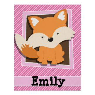 Cute Fox on Pink & White Stripes Poster