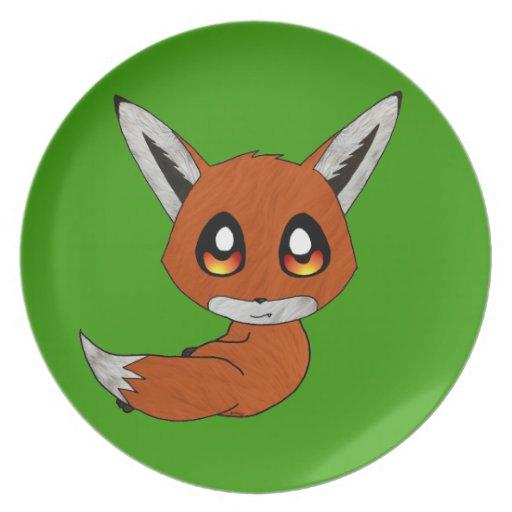 cute fox party plate