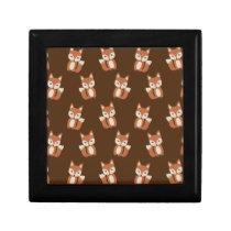 Cute Fox Pattern Keepsake Box